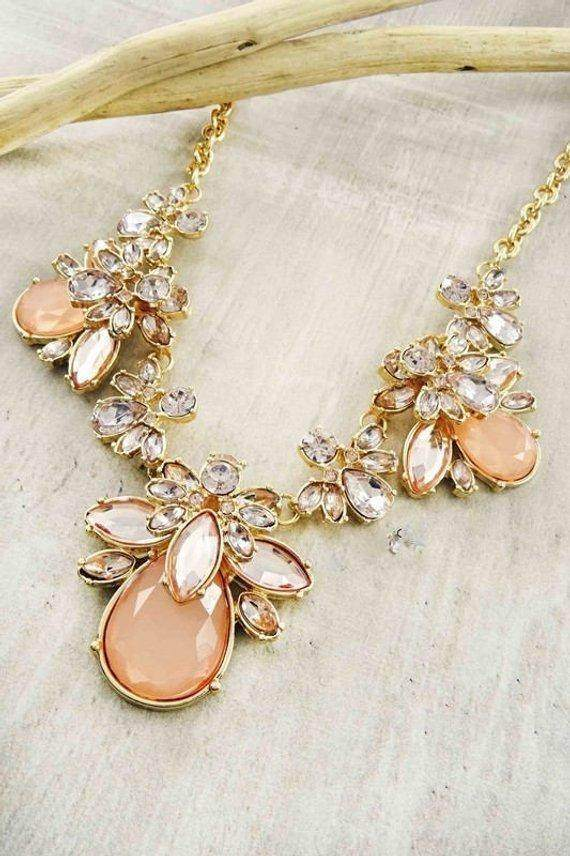 Peach Mix Statement Necklace