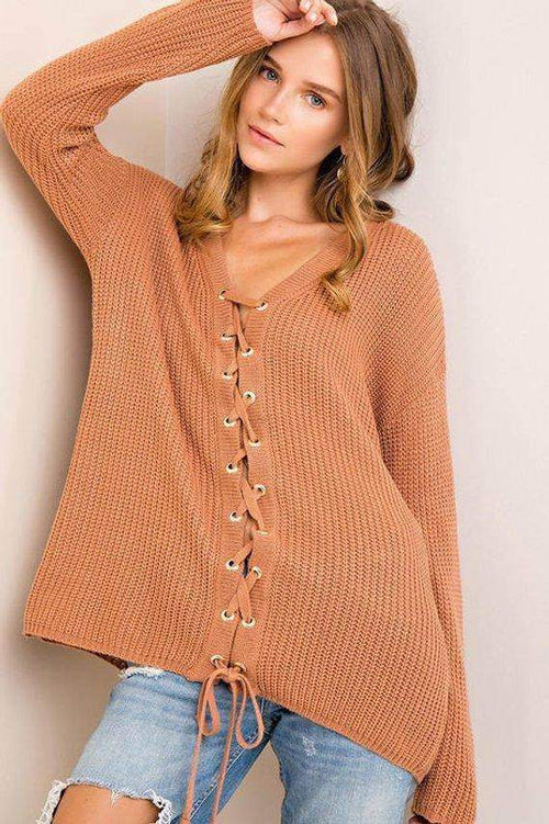Solid Lace-Up Sweater