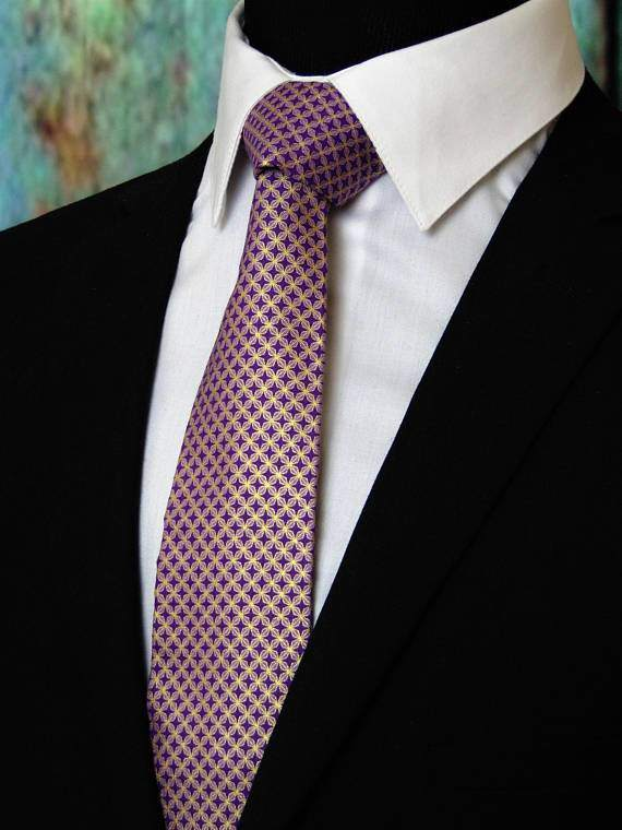 Purple and Gold Metallic Neck Tie - Maven Flair