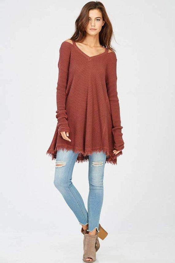 High-Low Fringe Sweater