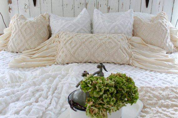 Ruffled Chenille Pillow Cover