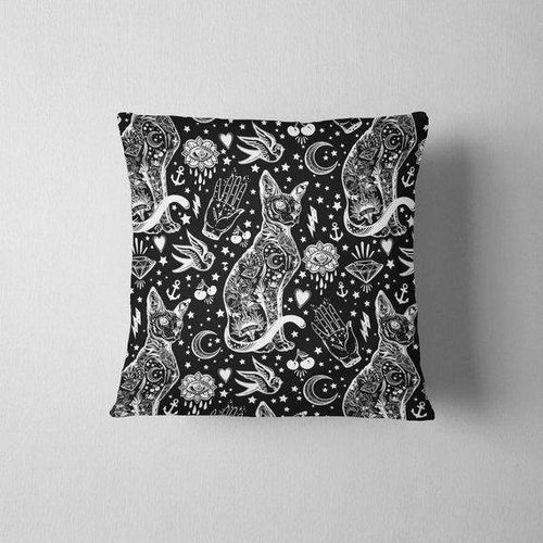 Black and White Astrology Cat Throw Pillow
