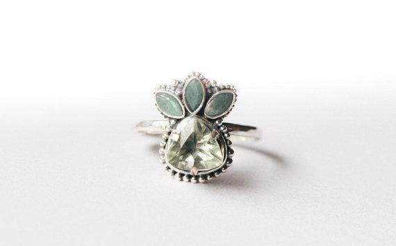 Multi Gemstone Sterling Silver Emerald Ring