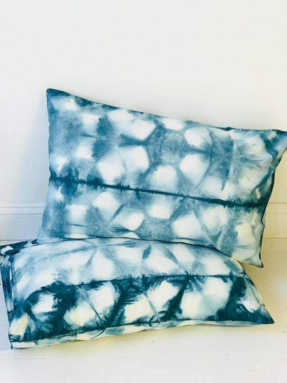 Hand Dyed Blue Bohemian Pillow cases