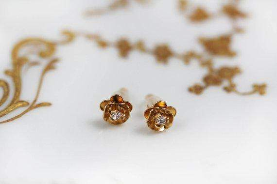 Rose Crystal Gold Floral Stud Earrings