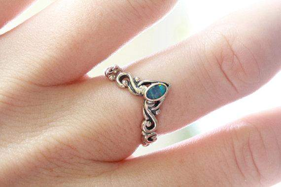 Blue Opal Silver Stacking Ring