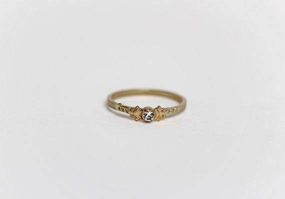 Crystal Gold Plated Victorian Ring