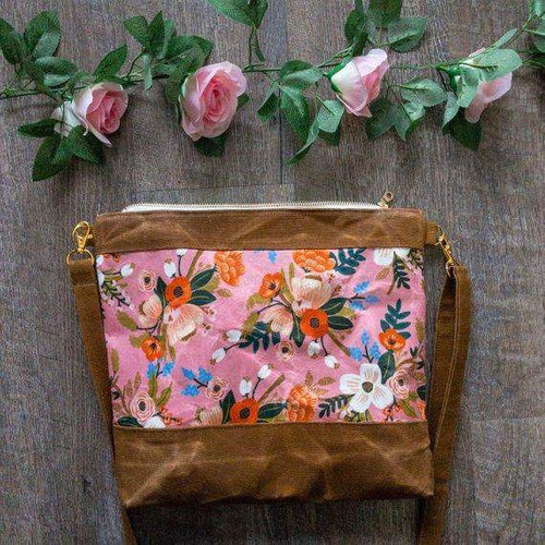 Waxed Canvas Floral Crossbody Purse