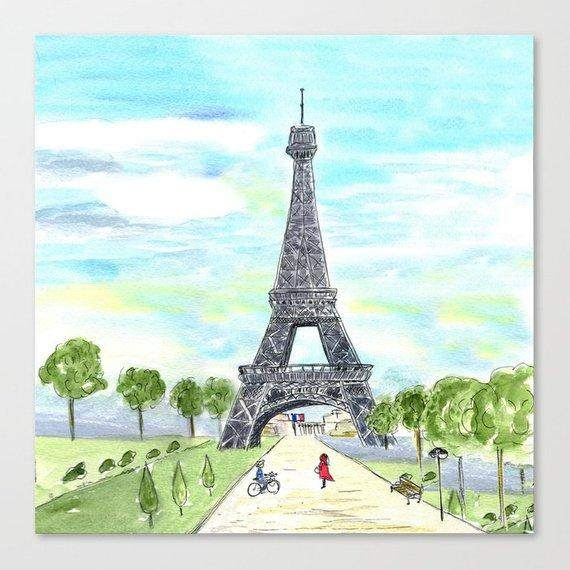 Paris Eiffel Tower Sketch Tote Bag