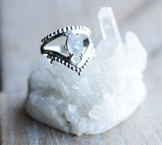 Asstar Boho Ring with Rainbow Moonstone  Gypsy Ring