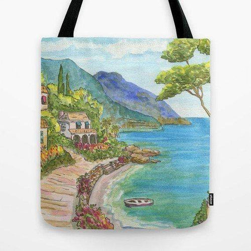 Mediterranean Seaside Village Tote Bag