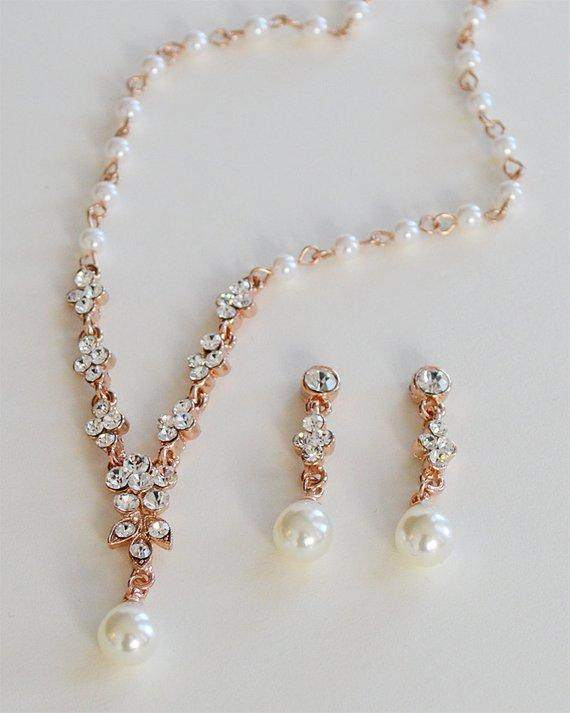 Gold Pearl Wedding Necklace