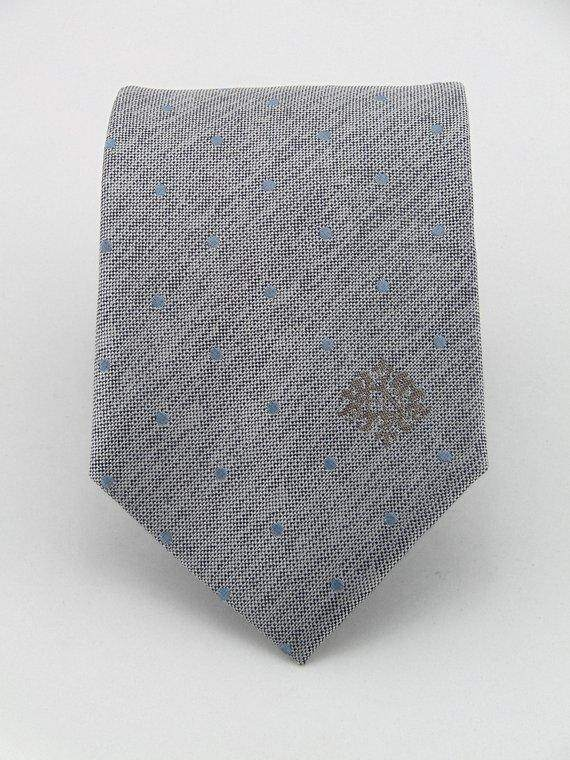 Mens Silver with Light Blue Dots Silk Necktie