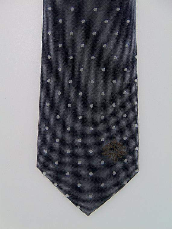 Mens Dark Gray with White Dots Silk Necktie