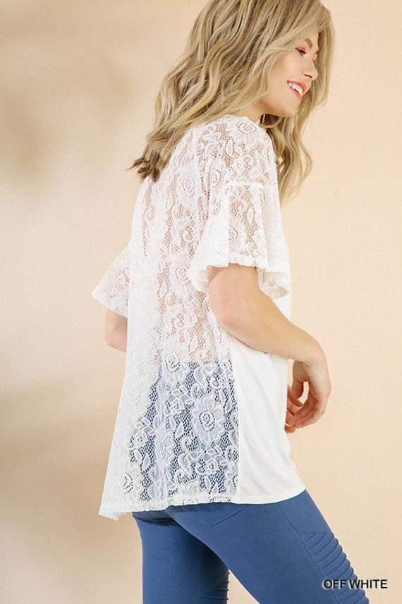 Solid Floral Lace Blouse