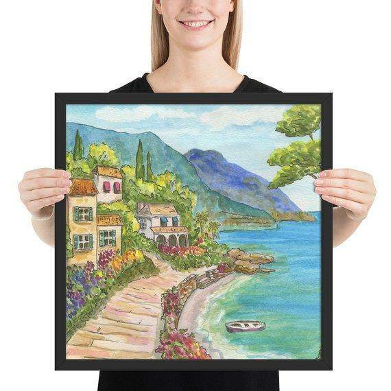 Seaside Village Framed Art Print