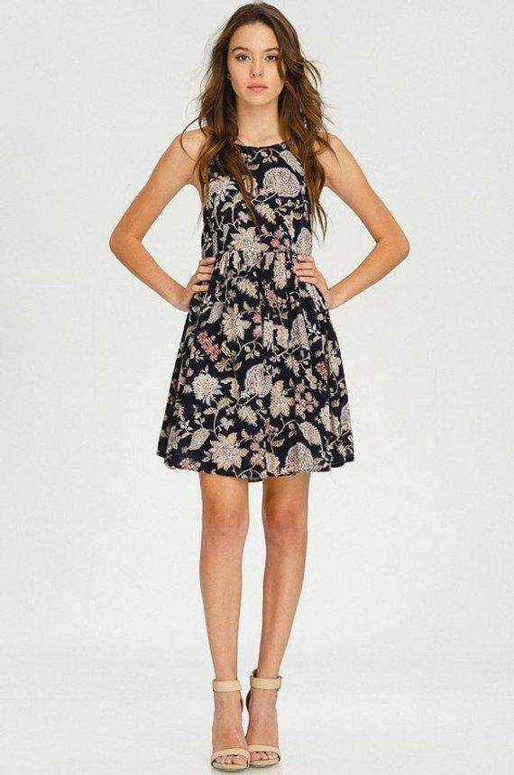 Floral Print Gathered Babydoll Dress