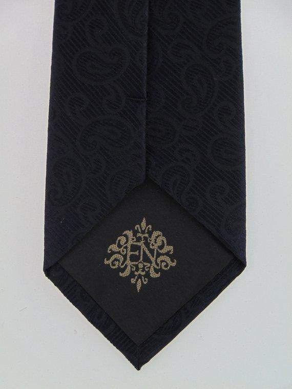 Silk Black on Black Paisley Necktie - Maven Flair