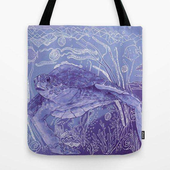 Periwinkle Sea Turtle Tote Bag