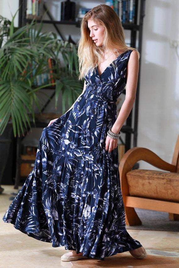 Navy Blue Carrie Floral Sleeveless Dress