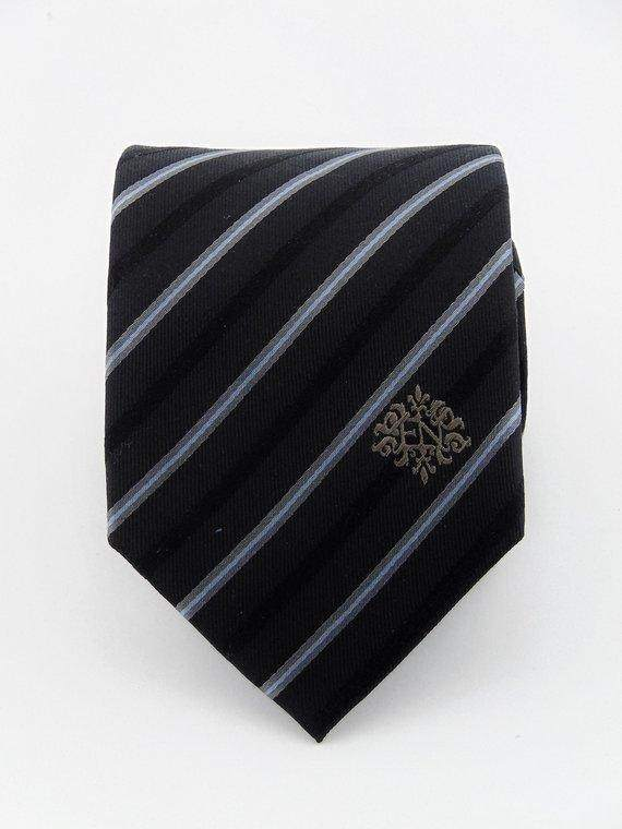 Mens Black with Silk Striped Ties