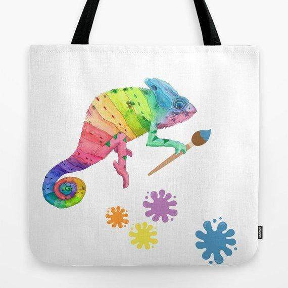 Rainbow Chameleon Watercolor Tote Bag