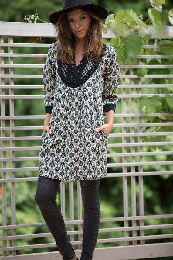 Boho Chic Black & Cream Embroidered Tunic Dress