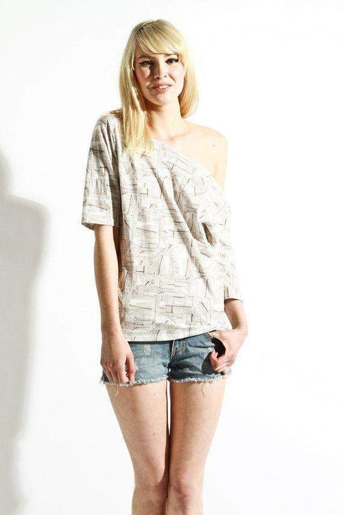 Off Shoulder Womens NY Subway Line Print Tee