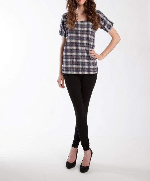 Limited Edition Plaid Oak Top, Cotton Tops, Womens Shirts, Womens clothing fashion