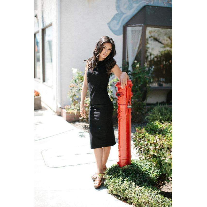Womens Black Midlength Evening Maxi Dress