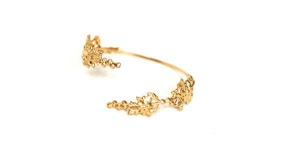 Nature Inspired Gold Plated Bridal Bracelet