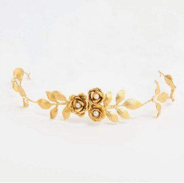 Lily Bridal Headband Golden Leaves Headband