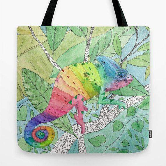 Rainbow Watercolor Chameleon Tote Bag