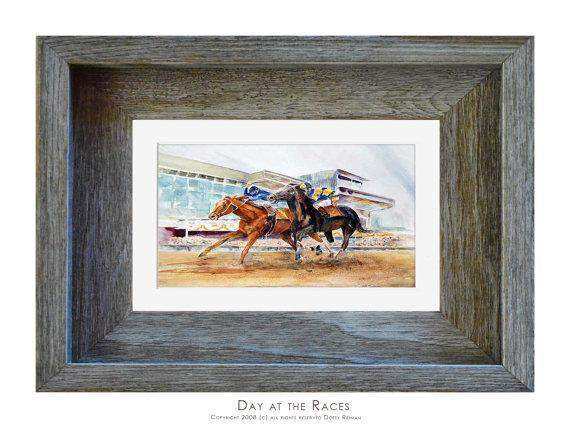 """Day at the Races"" Watercolor Horse Racing Print by Dotty Reiman"