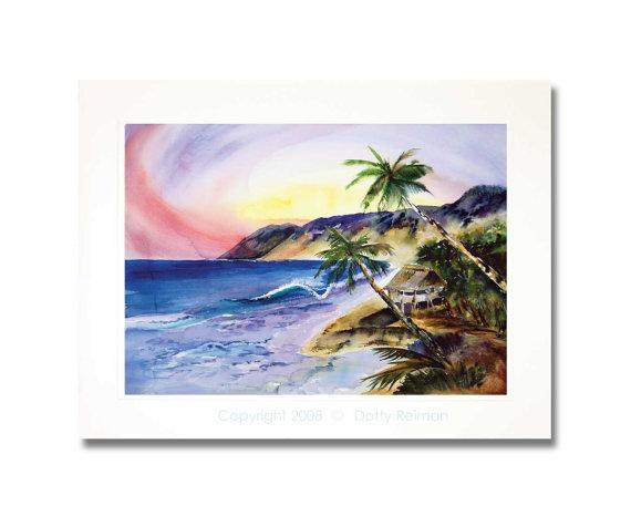 Tropical Hideaway Watercolor Art Print by Dotty Reiman