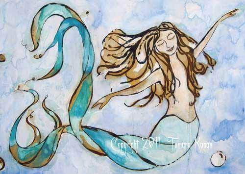 """Sweet Dreams""  Mermaid art print by Tamara Kapan"