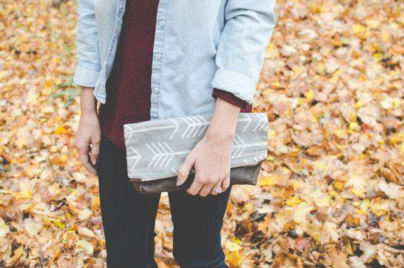 Waxed canvas clutch purse, gray arrow print