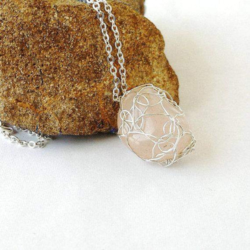 Silver Wire Crochet Rose Quartz Pendant