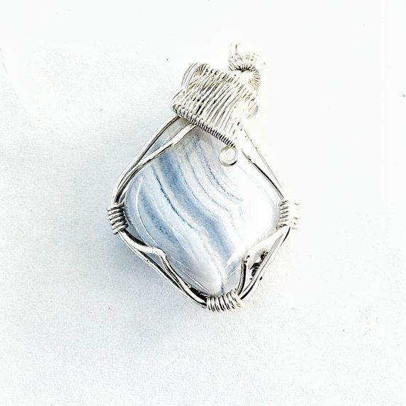 Wire Wrapped Blue Lace Agate Pendant