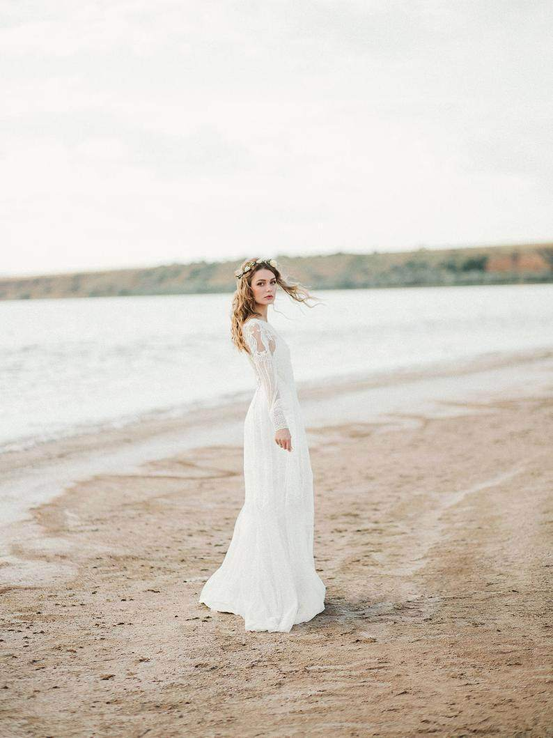 Long Sleeve Bohemian Backless Wedding Dress - Maven Flair