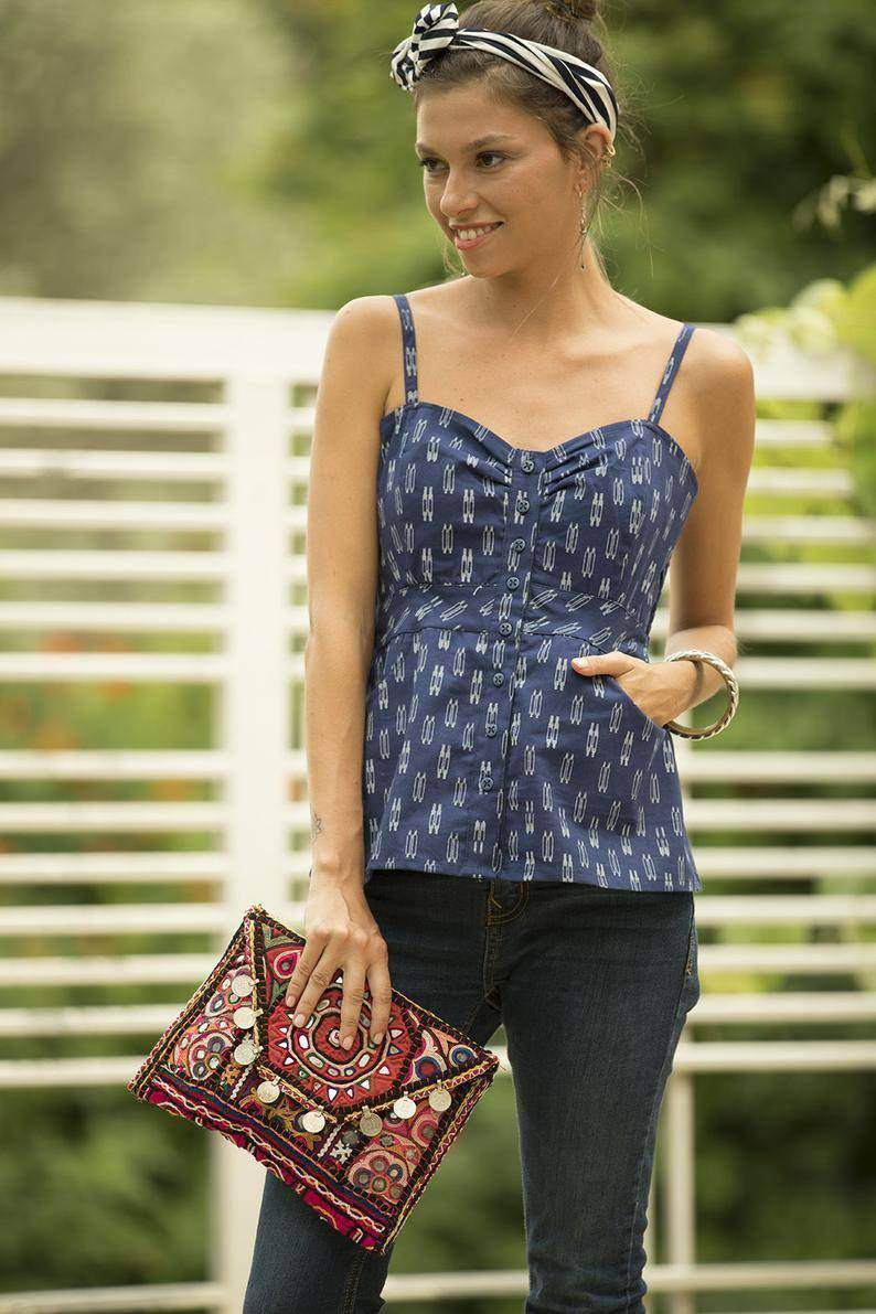 Boho Navy Blue Top