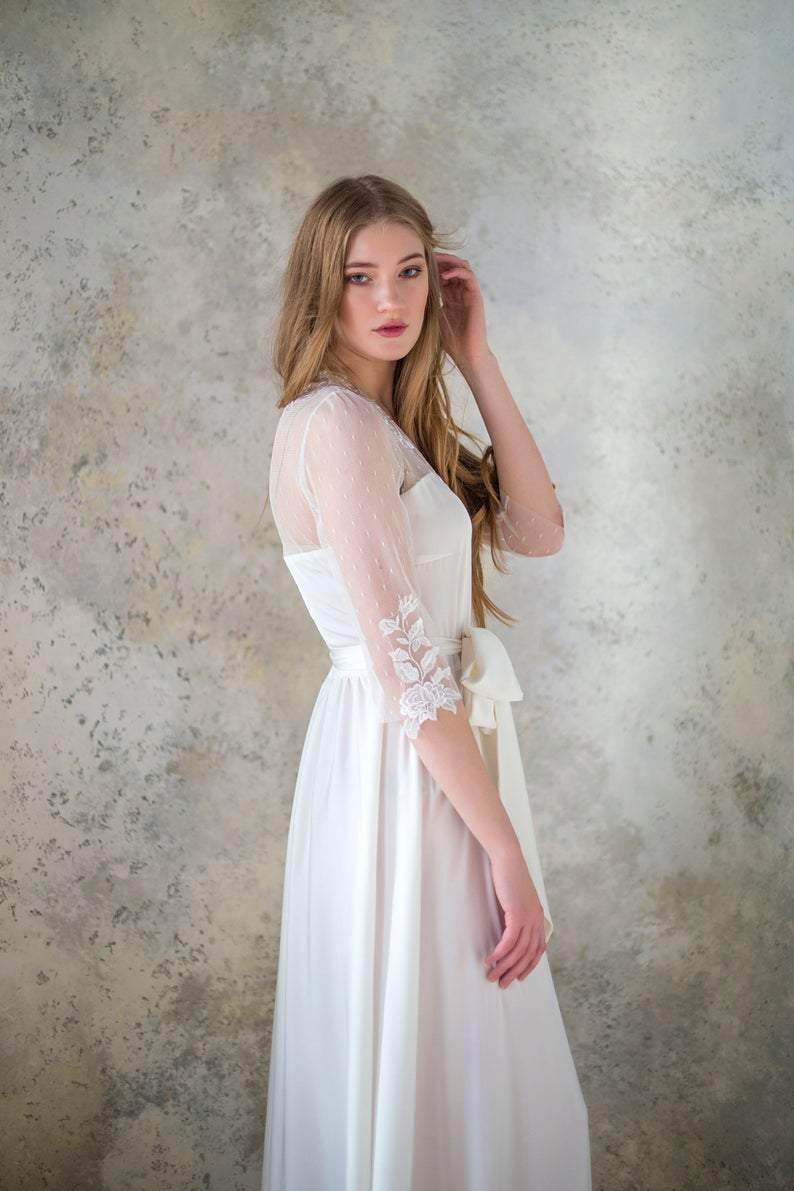 Long Ivory Robe with Lace Applique