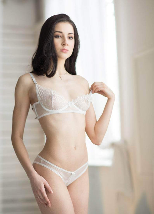 White Lace Bra Sheer Bra Bridal Lingerie Lace - Maven Flair