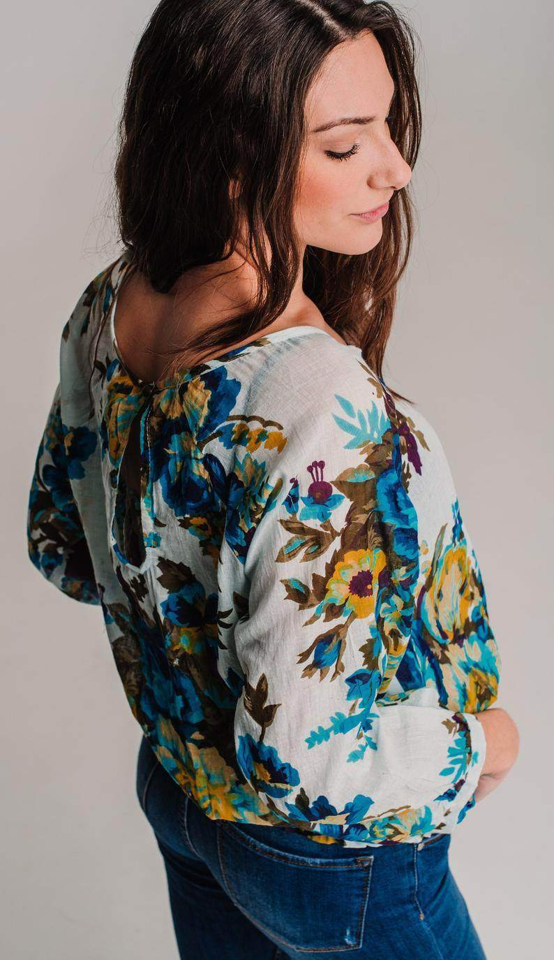Top Floral Cotton with Long Sleeves
