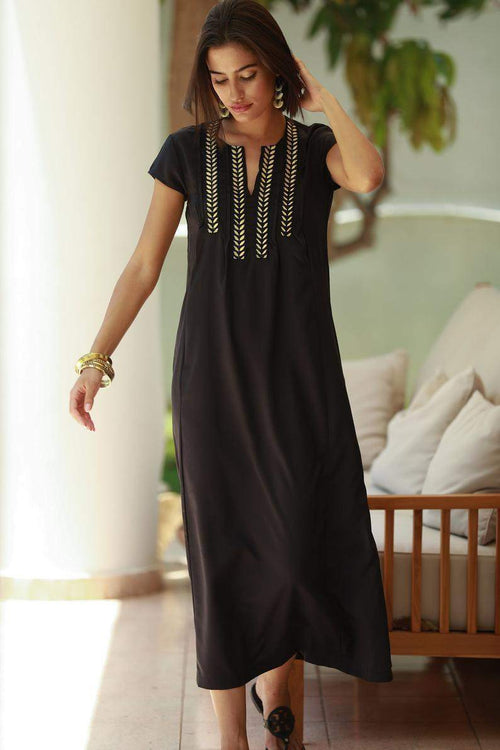 Boho Long Black and Gold Kaftan Dress
