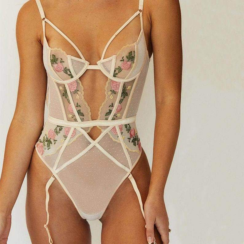 Embroidered Bodysuit Lingerie - Maven Flair