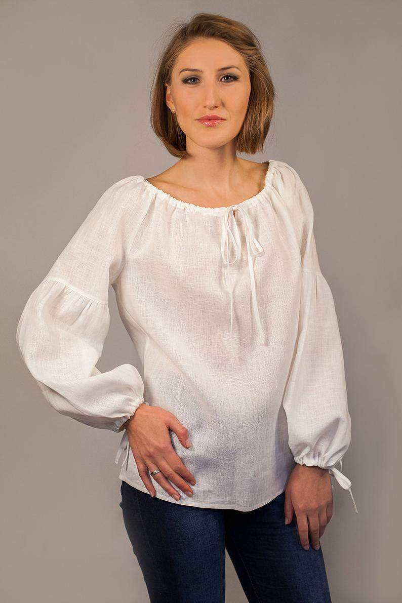 Peasant Long Sleeved Linen Blouse