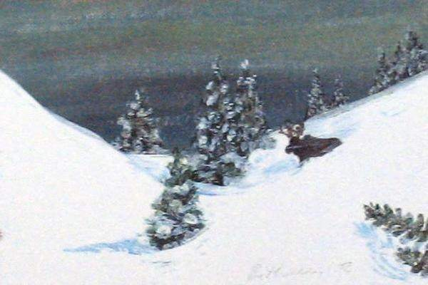 Winter Miniature Print - Winter Moose - Natural Artist