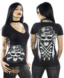 CROSSED ROSE SKULL V-NECK