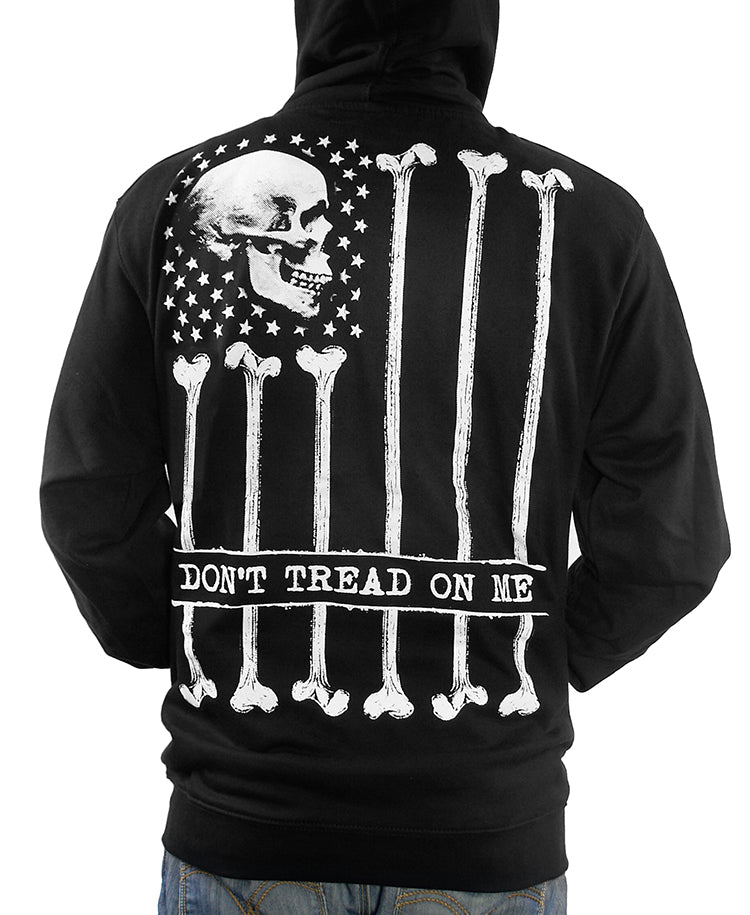 "BONE FLAG ""DON'T TREAD ON ME"" ZIP-UP HOODIE"